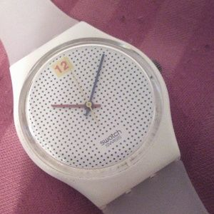 1985 Swatch watch GW104 Dotted Swiss